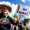 "Ree O'Winds, of Boulder County, left, holds her ""no fracking"" sign while demonstrating with others during an anti-fracking rally on Monday, April 16, at the Boulder County Courthouse on Pearl Street in Boulder. For more photos and video about fracking in Boulder County go to  <a href=""http://www.dailycamera.com"">http://www.dailycamera.com</a><br /> Jeremy Papasso/ Camera"