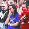 Students watch a mock car crash involving their friends and classmates Thursday afternoon on the Lebanon Middle School campus. The crash was part of the Every 15 Minutes program, which showcases the dangers of drunk driving.