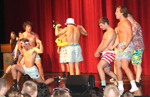 "SWIMSUIT COMPETITION: Lebanon High School seniors Caleb Bocock, Garrett Crow, Corey Edwards, Charlie Myers and Bryce Shearer along with juniors juniors, Riley Bush, Trevor Lakes, Patrick Tubbs, Evan Stambuagh, and Clayton Barber competed Saturday night for the title, and as the inaugural Mr. LHS. Put on as a""comical male beauty pageant"" all the proceeds benefitted LHS DECA. Shearer, bottom left, was crowned Mr. LHS at the school's auditorium."