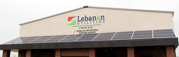 GREEN ENERGY: Thirty solar panels adorn the entry canopy to Lebanon Utilities' new Electric Operations Facility Building to help reduce the cost of powering the building.
