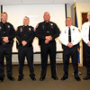"MOVING UP: Lebanon Police held a promotion and retirement ceremony Friday night and several officers were honored. (Pictured, from left with new ranks) officer Aaron Carlson, Sergeant Ted Boling, Captain Jim Miller, Lieutenant Rich Mount, LPD Chief Tyson Warmoth, LPD Deputy Chief Major Brad Bailey, Lebanon Mayor Matt Gentry. Also recognized were Sergeant Ben Phelps,and officers Carlson, Rob Watson, Ryan Williamson, Taylor Nielsen, David Edwards, and Trey Hendrix as each were awarded Life Saving Commendation Bars. Chief Warmoth also honored new LPD administrative assistan Ruthie Armas with the Lebanon Police Challenge Coin, and welcomed her to the LPD family. Retired LPD officers Harold West, Joe Rady, Mike Slagle and Maurice Hobson were also in attendance and Chief Warmoth encourged all current officers to lean on them for guidance and advice. ""Get to know them, talk to them, and learn from them,"" said Warmoth to the LPD officeers in attendance. ""We are truly honored by their presence. For the younger officers, these were the men that blazed the path before us and made the department what it is."""