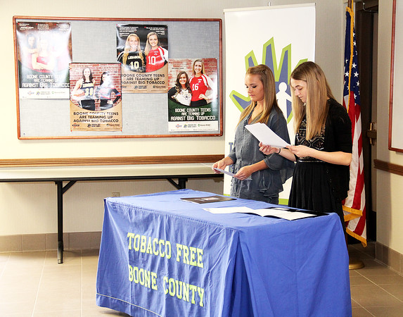 Rod Rose The Lebanon Reporter<br /> POSTER ESSAY WINNERS: Shelby Medley (left) and Grace Smith were introduced Wednesday as the winners of Tobacco Free Boone County's spring sports poster esssay contest.