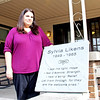 Rod Rose The Lebanon Reporter<br /> ADVOCACY CENTER RENAMING: Kassie Frazier, director of the Boone County Child Advocacy Center, stands with the plaque that will honor Sylvia Likens when the center is renamed.
