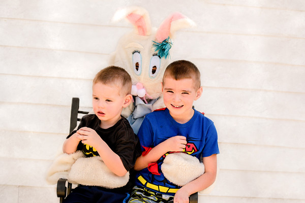 THORNTOWN EGG HUNTER<br /> submitted photo<br /> EASTER FUN: Abel and Jayden Sigmund with the KPW Easter Bunny at Thorntown's Easter Egg hunt. More than 100 children participated in the egg hunt.