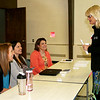 Rod Rose The Lebanon Reporter<br /> SPEAKING WITH SPEAKERS: Boone County Health Department Administrator Cindy Murphy, RN (standing) follows up with (from left) Angi Johnson, Lynette Clark and Michelle Bergman, who spoke Tuesday at an Indiana Youth Institute formur at Centenary United Methodist Church in Lebanon.