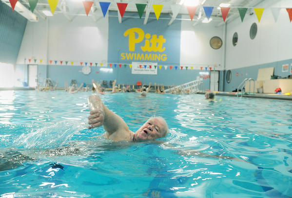 Globe/Roger Nomer<br /> Jack Overman swims at the Pittsburg YMCA swimming pool on Tuesday morning.  Overman is long-time member of the YMCA.