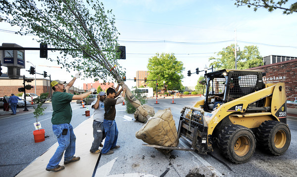 Globe/T. Rob Brown<br /> Roots to Blooms landscapers fight the wind to balance a variety of trees Thursday evening, April 19, 2012, as they prepare for the Third Thursday event on Main Street, near Fourth Street. Pictured from left: Wayne Tallent, Juan Bilas, Roberto Fuentes and John Meyer (inside the bobcat), owner. The display's intention is to promote Joplin and federal Arbor Day, April 27. Missouri Arbor Day was April 6.