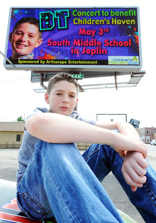 Globe/T. Rob Brown<br /> Brayden Taylor Mathis, who goes by the stage name BT, 13, of Joplin, will be performing May 3 at Joplin South Middle School to benefit Children's Haven in Joplin.