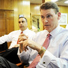 Globe/T. Rob Brown<br /> CEO David Wallace, right, and President Costa Bajjali, of Wallace-Bajjali Development Partners, of Sugar Land, Texas, speak Monday afternoon, April 2, 2012, in Joplin.
