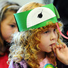 "Globe/T. Rob Brown<br /> ""It Ain't Easy Being Green""<br /> Neva Noel, 4, of Diamond, dons a frog hat she made during the ""Jeepers, Spring Peepers"" amphibian program for small children Saturday morning, April 14, 2012, at the Wildcat Glades Conservation & Audubon Center in Joplin."