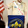 Globe/T. Rob Brown<br /> Eagle Scout Matt Hutchison speaks Tuesday during a luncheon, April 17, 2012, at Granny Shaffer's Banquet Hall on North Range Line Road in Joplin about his experiences May 22, 2011, to a group of Boy Scouts of America representatives and supporters. Courtney Grisham, of Greenfield and formerly of Joplin, also spoke about her experiences.