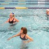 BEN GARVER – THE BERKSHIRE EAGLE<br /> At 90, Theresa Tracy (center) teaches an Aquafit class at the YMCA in Pittsfield.  The classes are open to anyone Monday, Wednesday and Friday 11am-noon.  Theresa's birthday was Tuesday and she has been teaching fitness for 22 years at the YMCA after a career as a nurse.