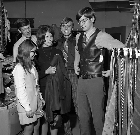 THE GOSHEN NEWS | October 8, 1970<br /> Lowell Straw, president of the Distributive Education Club at Goshen High School, models a vest for other officers of the club at Kline's Department Store, where he is learning to be a clothing salesman, Left to right with Straw are Joan Nagle, public relations; Byron Yoder, treasurer; Jane Schreck, secretary; and John Kuiper, vice president.
