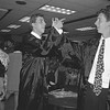 THE GOSHEN NEWS | JUNE 4, 1994<br /> Wes Hartman, right, gets a high five from David Miller following their graduation from NorthWood High School Friday night. At left is Nate King. They were among 165 students to receive diplomas during the commencement ceremony, which included speeches from students Gretchen Hess and Katie Mahon.