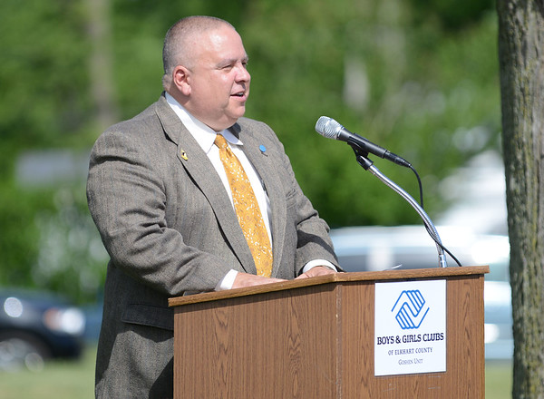 HALEY WARD | THE GOSHEN NEWS<br /> Kevin Deary, President and CEO of the Boys & Girls Club of Elkhart County speaks during the groundbreaking ceremony for a $5.4 million expansion of the facility Thrursday.