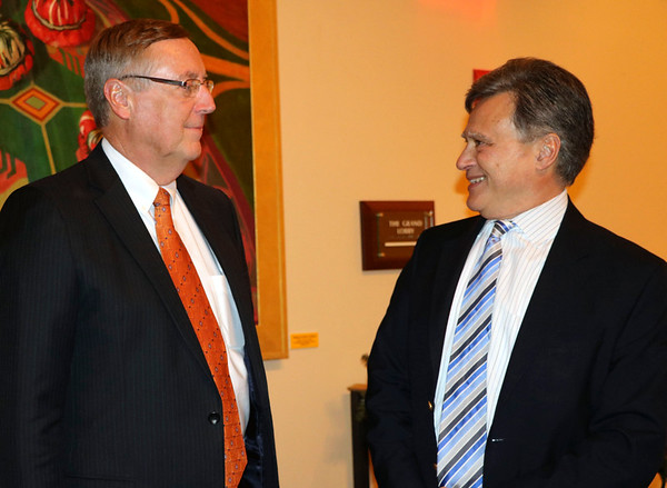 SHERRY VAN ARSDALL | THE GOSHEN NEWS Elkhart County Circuit Court Judge Terry Shewmaker talks with Elkhart Superior Court 6 David Bonfiglio at the Lerner Theatre during a retirement party.