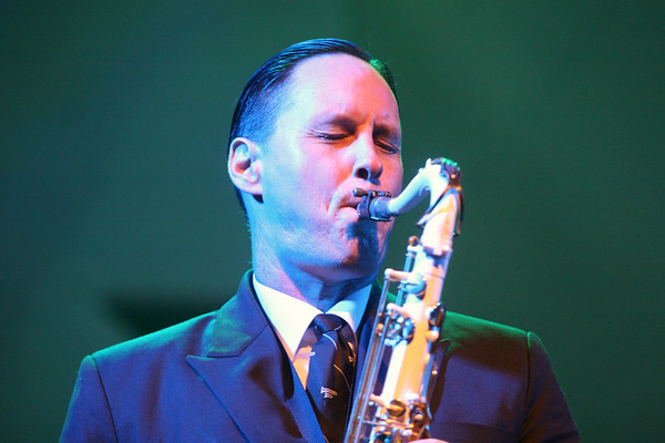 MICHAEL WANBAUGH | THE GOSHEN NEWS<br /> Preservation Hall Jazz Band saxophone player Clint Maedgen performs a solo at Elkhart's Lerner Theater as part of the 27th Annual Elkhart Jazz Festival Friday night.