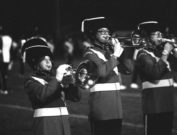 THE GOSHEN NEWS PHOTO  BACK WHEN Oct. 13, 1979<br /> The Goshen High School marching band performed at halftime during the Goshen-Plymouth football game Friday night despite chilly temperatures. The band, in new uniforms purchased during the summer, appears at all GHS home football games. The Redskins won the conference title 14-6.