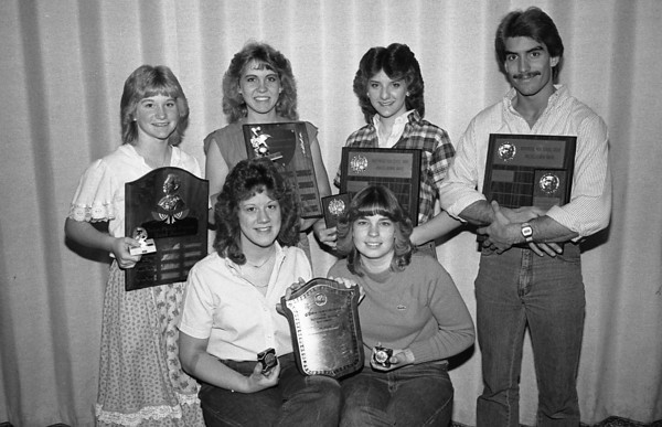 THE GOSHEN NEWS PHOTO  BACK WHEN May 18, 1983<br /> The six Northridge students pictured above were winners of the five big music awards at this year's Middlebury community schools music awards ceremony. In front are co-winners of the Arion Award for outstanding choir students. They are from left, Sandy Miller and Kelly Lacy. In back, from left are Cindy Miller, winner of the John Philip Sousa Award; Elizabeth Galt, winner of the Northridge High School choral award; Missy Bontrager, winner of the Northridge Band Underclassman Award and Jay Boughner, winner of the Northridge Choir Underclassman award.