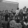 THE GOSHEN NEWS PHOTO  Back When March 30, 1981<br /> Members and former members of the NorthWood High School band provided music for the annual Wakarusa Maple Syrup Festival parade Saturday. The event drew probably the biggest crowd in history, estimated at 30,000. A number of parade entries received special awards and the band, shown here riding on a J.A. Miller truck, received the music trophy award. There 24 busloads of visitors to the sugar camps, 6.000 pancake and sausagee breakfasts sold along with 13,000 bags of popcorn, 3.800 apple fritters, 6,700 pounds of jelly beans and $600 was earned from the sale of sugar cakes