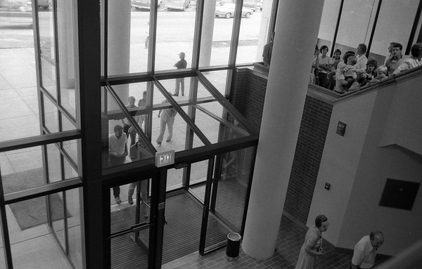 THE GOSHEN NEWS PHOTO  BACK WHEN Aug. 10, 1986<br /> Over 1,500 people toured the new Elkhart County Security Center in Goshen Sunday afternoon. This view from the inside of the new portion of the building shows the mainentry. New construction is nearly complete and renovation of the old portion of the jail will now get into high gear.