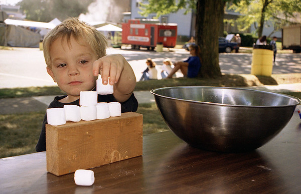 THE GOSHEN NEWS PHOTO  Back when Sept. 5, 1995<br /> Tyler Stutzman, 3, builds a marshmallow wall Saturday during the Marshmallow Olympics in Ligonier. He was at the festival with his mom Carri and brother Don, 6, all of Cromwell.