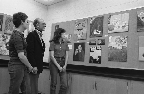 THE GOSHEN NEWS PHOTO  March 30, 1981<br /> One of the major winners in the West Noble art show was Stephanie Cripe, right, a senior at West Noble. She won first, second and third prizes for her paintings. Shown with her are her mother, Mrs. Ray Cripe, and Josef L. Norris, West Noble art teacher.