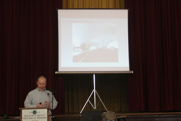 SHERRY VAN ARSDALL | THE GOSHEN NEWS<br /> Curator of Education Patrick McGuire gave a presentation of the Palm Sunday tornadoes that occurred April 11, 1965. The presentation took place at the Elkhart County Historical Museum in Bristol.