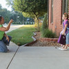JULIE CROTHERS | THE GOSHEN NEWS<br /> Emily Woodring snaps a photo of her daughter Allison before her first day of first grade Wednesday at Clinton Christian School.