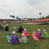 JULIE CROTHERS | THE GOSHEN NEWS<br /> A crowd of several hundred gathered to watch the Fairfield Fusion choir and other performers at the Cook Station Park Stage Saturday during Millersburg Farmer's Days.