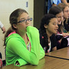 JULIE CROTHERS | THE GOSHEN NEWS<br /> Laci Johnson, 11, and her Northridge Middle School sixth-grade classmates listen Wednesday morning during an orientation program on the first day of school.