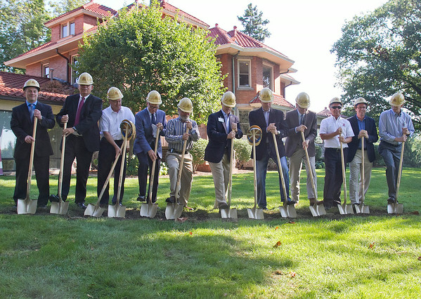 SAM HOUSEHOLDER   THE GOSHEN NEWS<br /> Maple City Health Care Center and IU Health Goshen Hospital broke ground on a new site at the former Abshire Mansion on north Main Street Thursday. Pictured are, from left, Sam Hoover, of First State Bank, George Marlow, co-chair of the fun committee, Harvey Hansen, president of the auxillery, Gordon Lord, chairman of the board for IU Health Goshen Foundation, Dr. James Gingerich, guardian of vision for Maple City Health Care Center, Randy Christophel, CEO of IU Health Goshen Hospital, Tom Salzer, Bona Vita Architecture, Dan Berger, president of medical staff for IU Health Goshen Hospital, Bob Schrock, CEO of DJ Construction, Wes Herschberger, chairman of the board for IU Health Goshen and Max Mertz, chair of Maple City health board.