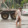 SAM HOUSEHOLDER | THE GOSHEN NEWS<br /> Goshen High School students Elizabeth Davidson, a sophomore and Jasmine Davidson, a junior, obscured, walk home Tuesday in the rain along Monroe Street.