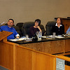 JOHN KLINE | THE GOSHEN NEWS<br /> Goshen resident Richard Aguirre, left, speaks to the Goshen City Council Tuesday evening about a resolution calling for unity, safety and respect in the city. From left are council members Edward Ahlersmeyer, Julia Gautsche, Julia King and Jim McKee.