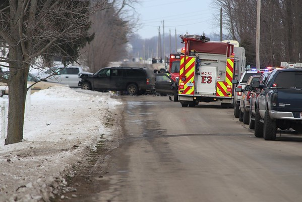 ADAM RANDALL | THE GOSHEN NEWS<br /> An injury accident Wednesday afternoon in the 62000 block of East County Line Road prompted the attention of emergency personnel. The road was closed at the scene while the victims were attended to.