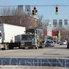 Roger Schneider | The Goshen News<br /> Semis and cars wait at a traffic light in Bristol Thursday. The Town Council plans to move Ind. 15 truck traffic to a truck route on the town's east side in 2018.