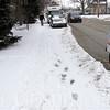 Snow on the sidewalks