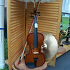 DENISE FEDOROW | THE GOSHEN NEWS<br /> This lamp madeusing a violin by artist John Parker, a first-place ribbon winner in the AmishAcres Arts&Crafts Festival is mounted on a base so it can be taken off andstill played.