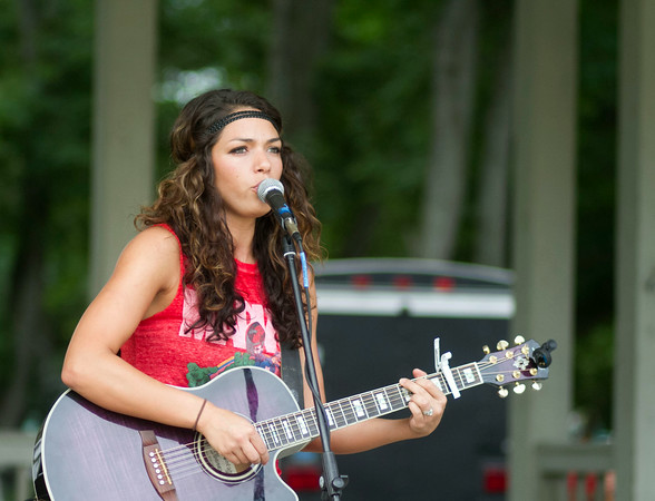 SAM HOUSEHOLDER | THE GOSHEN NEWS<br /> Singer Jules performs Friday at the Bristol Homecoming festival at Congdon Park. The festival is one of the oldest int he area, tracing its roots back 132 years.