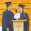 JOHN KLINE | THE GOSHEN NEWS<br /> Graduating Bethany Christian seniors Corey Hostetler and Katie Shank offer the student address during graduation ceremonies Sunday inside the school gym.