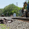 SAM HOUSEHOLDER | THE GOSHEN NEWS<br />  The railroad crossings on S.R. 4, near and Ninth Street were closed Tuesday while Norfolk Southern replaced rails through the two crossings. The crossing is scheduled to be closed until Thursday, according to previous reports.