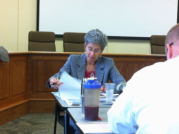 SHERRY VAN ARSDALL | THE GOSHEN NEWS<br /> Goshen Community Schools Superintendent Diane Woodworth scores the three design build teams fo the pool and renovation projects of  GCS during a public meeting Wednesday.