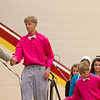 SAM HOUSEHOLDER | THE GOSHEN NEWS<br /> Brian Chupp, receives his completion certificate during the Eighth Grade Completion ceremony at Westview Junior/Senior High School Tuesday June 4, 2014 in Emma, Ind. Chupp is wearing a pink shirt, worn by all the Amish boys in the ceremony, which is picked by their Amish female classmates.