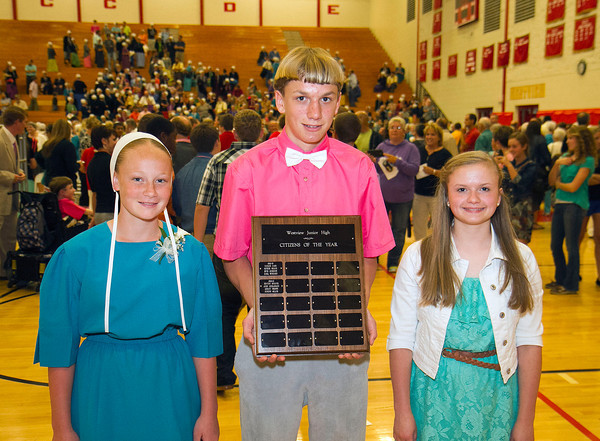 SAM HOUSEHOLDER | THE GOSHEN NEWS<br /> The Westview Eighth Grade Citizens of the Year for 2013-2014 are, from left, Dorene Miller, John Schlabach and Ashley Brown. Not pictured is Kenton Weaver. The award is based on a vote by teachers and the principal and is given to students who are doing good for their fellow students and the school, according to prinicipal Randy Miller.