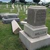 JULIE CROTHERS | THE GOSHEN NEWS <br /> Gravestones in the cemetery at St. John's Lutheran Church, C.R. 32 and C.R. 15, were damaged during the storm. The top of the gravestone was knocked off the base, striking another gravestone and splitting into several pieces.