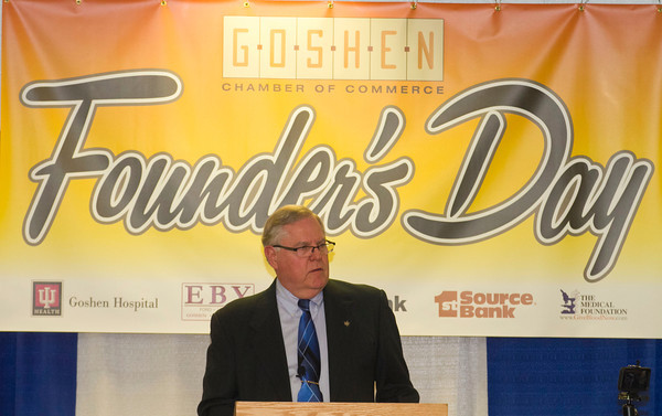 SAM HOUSEHOLDER   THE GOSHEN NEWS<br /> Mayor Allan Kauffman speaks during the Goshen Chamber of Commerce's Founder's Day at the Elkhart County Fairgrounds Thursday. The mayor spoke about the city's spending and future plans and projects.
