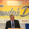 SAM HOUSEHOLDER | THE GOSHEN NEWS<br /> Mayor Allan Kauffman speaks during the Goshen Chamber of Commerce's Founder's Day at the Elkhart County Fairgrounds Thursday. The mayor spoke about the city's spending and future plans and projects.