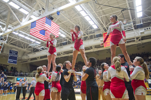 The Goshen cheerleaders perform during a timeout.