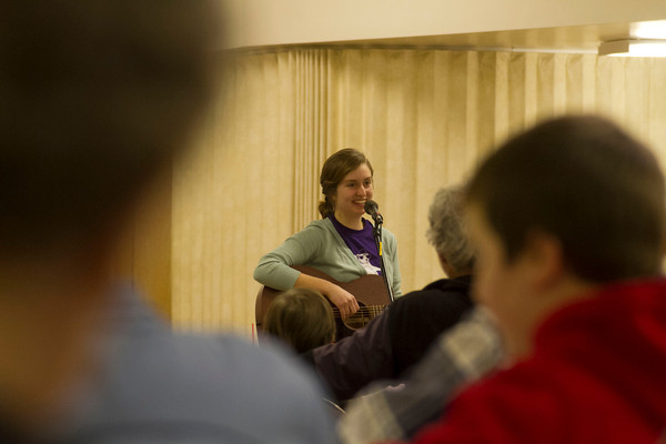 SAM HOUSEHOLDER | THE GOSHEN NEWS<br /> Sadie Gustafson-Zook plays a song at Goshen City Church of the Brethren Friday during First Friday Live & Local. Gustafson-Zook is a Goshen native and a freshman at Goshen College.