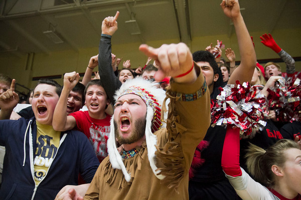 The Goshen student section cheers on the team.